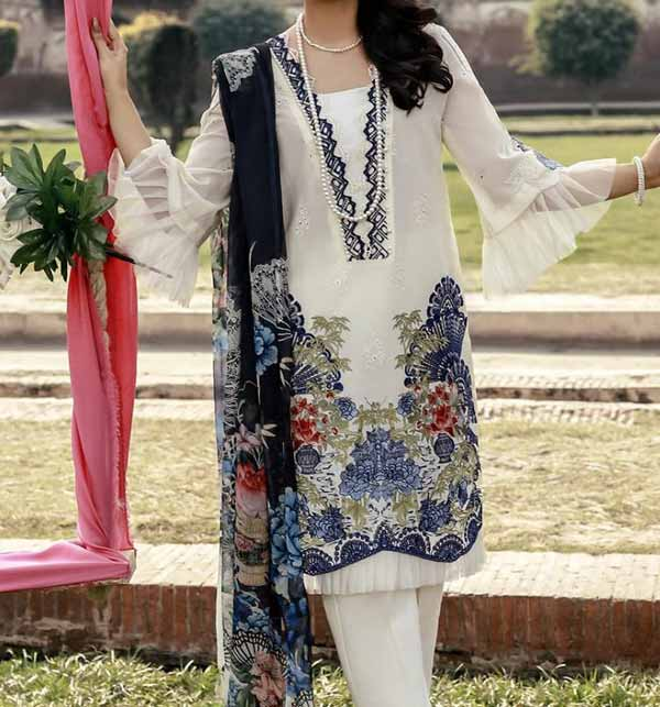 Luxary Embroidered Scifflie Lawn Suit with Embroidery Chiffon Dupatta (DRL-909)