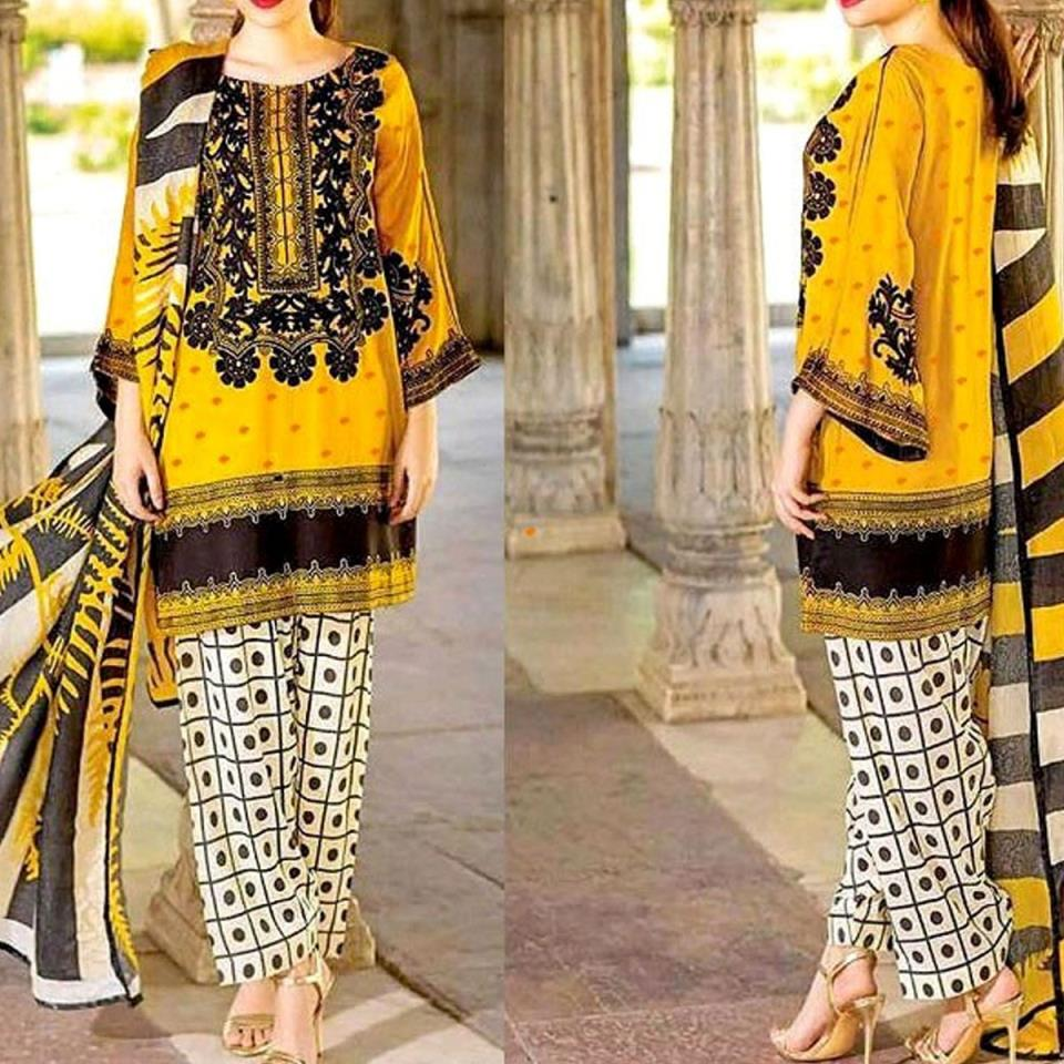 Embroidered Lawn Dress 2020 with Chiffon Dupatta UnStitched (DRL-422)