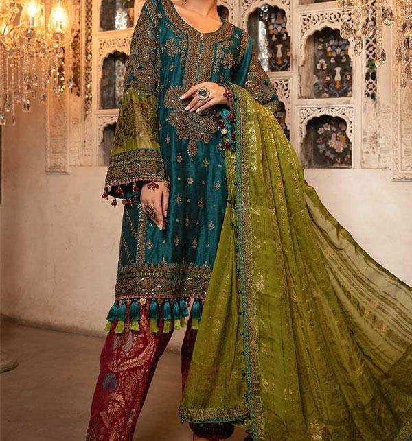 Linen Embroidered Dress with Wool Shawl Dupatta Unstitched (LN-96)