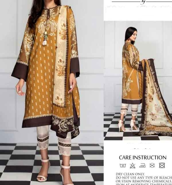 Lawn 90/70 Digital Printed Suit With Chiffon Duppata  (DRL-674)