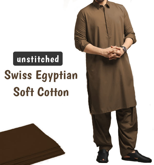 Orignal Swiss Men's Soft Egyptian Cotton Shalwar Kameez Unstitched (Swiss-1)