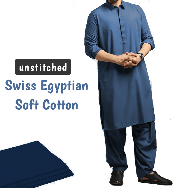 Orignal Swiss Men's Soft Egyptian Cotton Shalwar Kameez Unstitched (Swiss-3)
