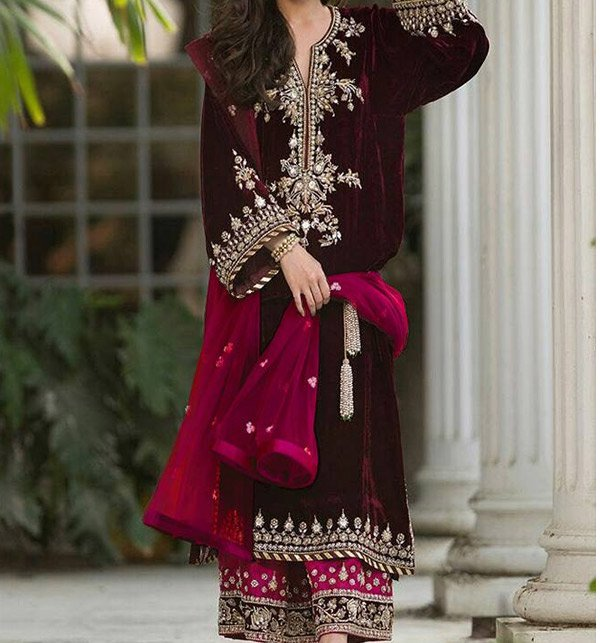 Velvet Embroidery Suit With Net Embroidery Duppata Unstitched (CHI-193)