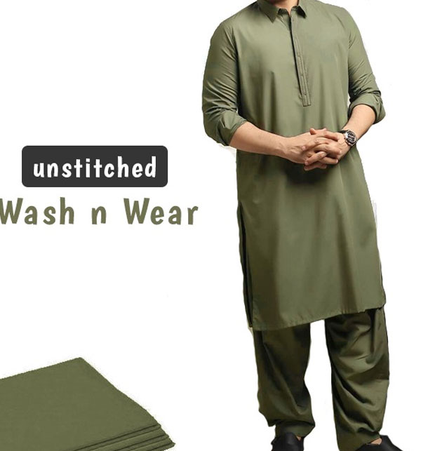 Best Quality Wash n Wear Unstitched Men's Shalwar Kameez	(MSK-77)