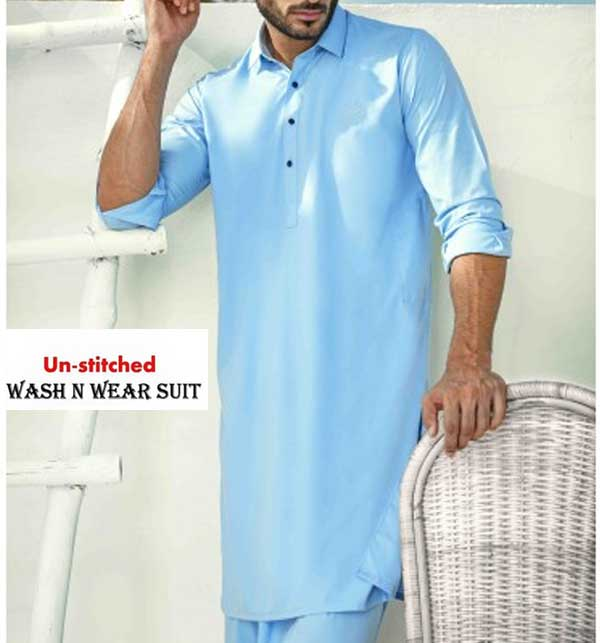 Wash n Wear Sky Blue Men's Kameez Shalwar Unstitched (MSK-24)