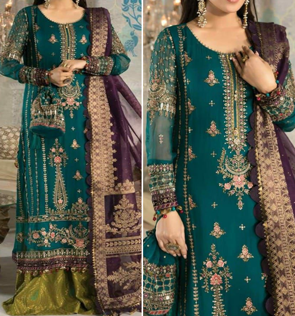 Wedding Collection Chiffon Heavy Embroidered Dress With Organze Embroidered Dupatta (UnStitched) (CHI-481)