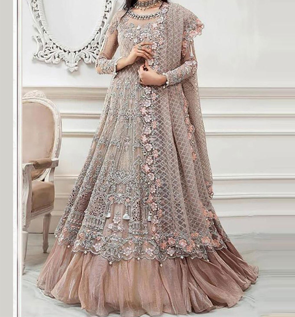 Wedding Net Full Heavy Embroidered Collection With Net Embroidered Duppata (CHI-477)