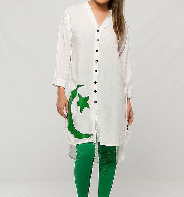 White Independence Day Chand Sitara With Jersey Tight (EK-42)