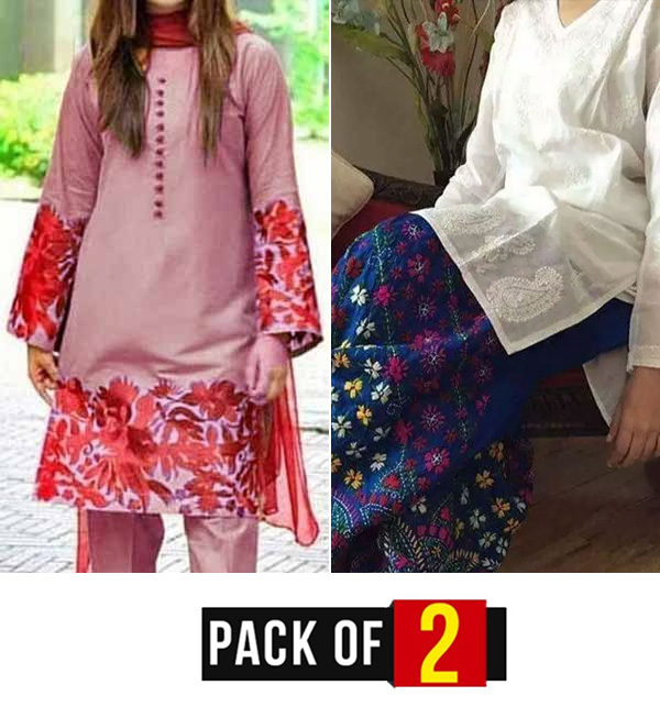 EID Pack OF 2 Hit Lawn Heavy Full Embroidered Dress UnStitched (DRL-800) & (LN-13)