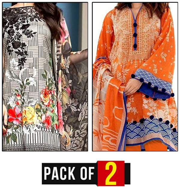 Winter Deal - Pack OF 2 LINEN Embroidery Dress with Chiffon Dupatta (Unstitched)  (LN-71) &  (LN-72)