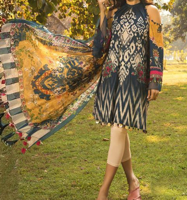 Winter Linen Embroidered Dress 2020 with Linen Dupatta  Unstitched -  (LN-129)
