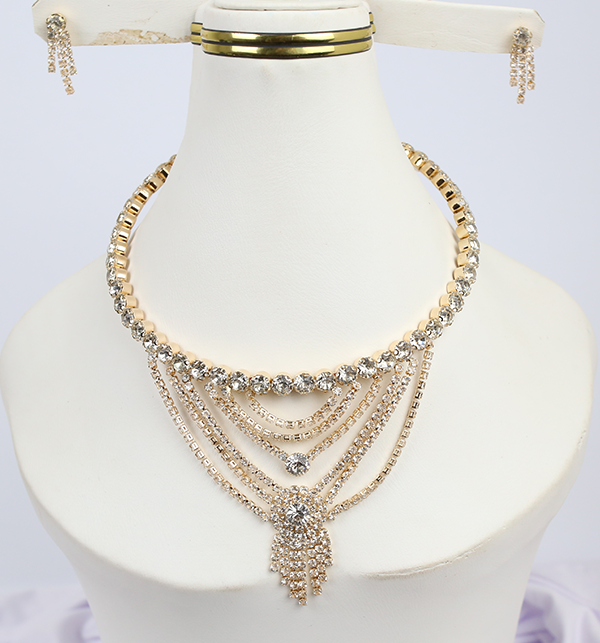 Choker Necklace Gold Color With Earrings (PS-206)