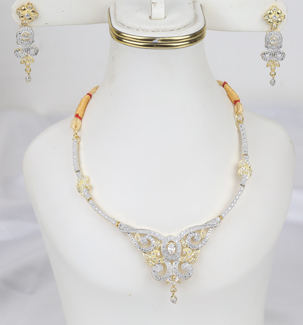 Zircon AD Beautiful Neacklace Set With Earring  (PS-391)
