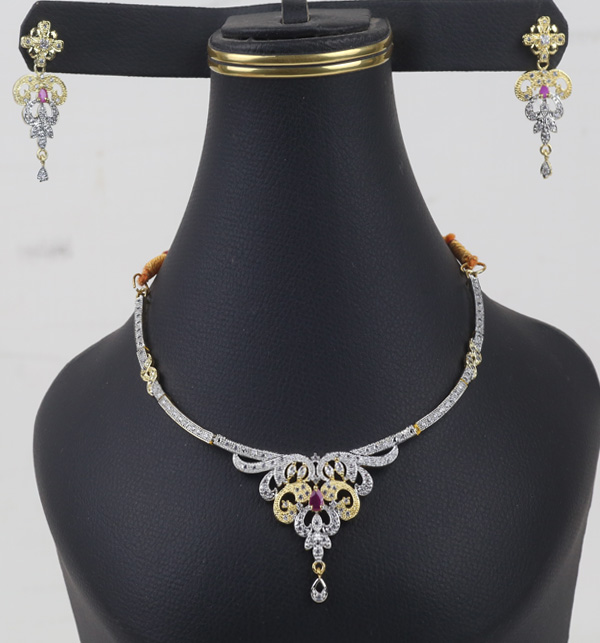 Zircon Neacklace Set With Earring  (PS-395)