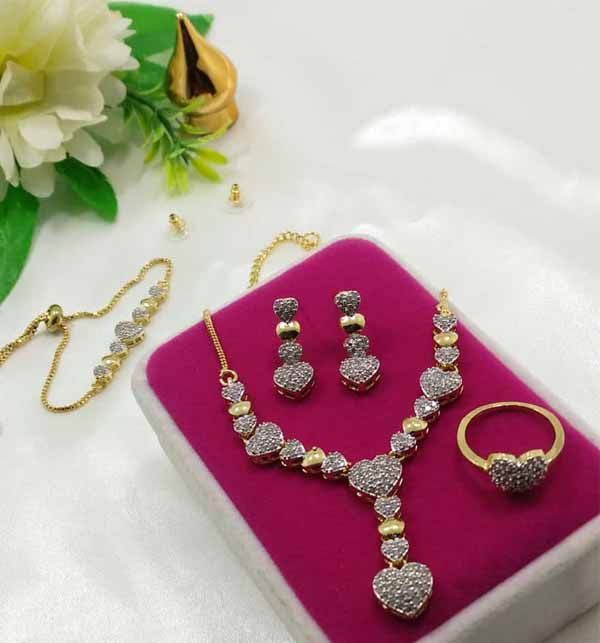 Zircon Silver Gold Combo Jewelry Set (PS-399)