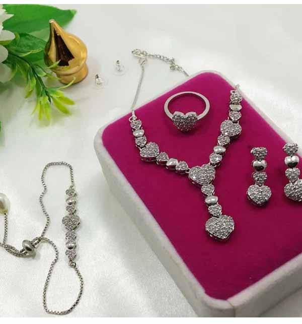 Zircon Silver Jewelry Set (PS-398)